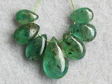 Natural Medium Green Emerald Smooth Plain Pear Briolette Gemstone Beads 002