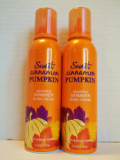 Bath Body Works SWEET CINNAMON PUMPKIN Whipped Shimmer Body Cream NEW x 2