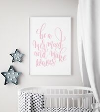 Be a Mermaid Waves Grey Nursery Print Kids Room Little Girls Wall Art Picture A4 (21x29.7cm)