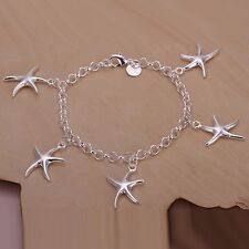 Silver Plated Multi Stars Starfish Bracelet Bangles Womens 925 Sterling 8 inches