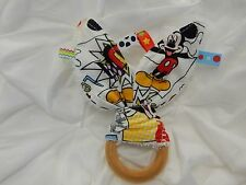 Bunny Ears Wooden Teething Ring Taggie - Colourful Mickey Mouse - 100% Cotton