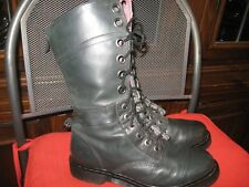 Doc Dr Martens Triumph  BLACK - Grey Plaid Fold-Over Combat Boots/Womens Size 11