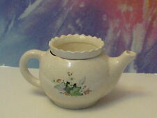 Small Tea Pot Cream With Ivy And Flowers African Violet Ceramic Pot/Planter