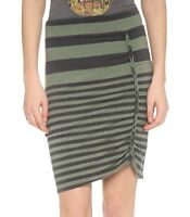 "Free People ""Lots o Knots"" Army Green Striped Stretch Jersey Skirt - MSRP $68"