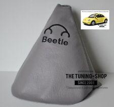 """Per Vw New Beetle 1998-11 Cuffia Leva Cambio Pelle Grigio """"Beetle"""" Nero Ricamo"""