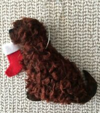 More details for brown labradoodle decoration with pumpkin part needle felted dog