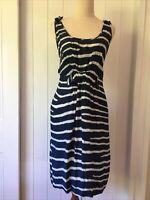 Stella McCartney for Target size 14 Silk Navy Blue White Die Striped Sleeveless