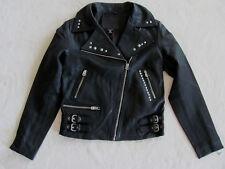True Religion Embellished Leather Moto Jacket- Zippers -Black- Size XS- NWT $599