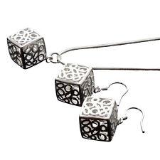Silber Schmuckset Ohrringe Ohrhänger und Hals Kette Collier mit Anhänger Würfel