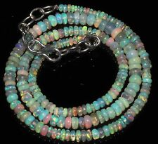 """42 Carat 17"""" 2 to 5 mm Natural Ethiopian Welo Fire Opal Beads Necklace -EB180"""
