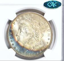 1884 P NGC + CAC MS65 Star Rainbow Toned Morgan Silver Dollar GEM BU PQ