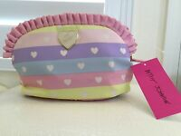 BETSEY JOHNSON Cosmetic Bag COSMETI LARGE RUFFLE MadeUp Case Blush Pink NEW