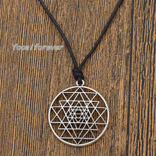 Sri Yantra Pendant Mandala Talisman Tantric Wealth & Good Luck Amulet Necklace