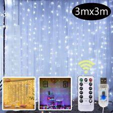300 LED Curtain Fairy String Lights USB Home Window Bedroom Wedding Party Decor