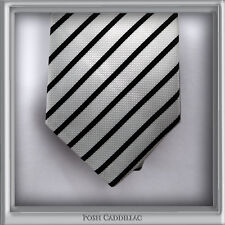 100% Silk NeckTie Handmade Black & White Striped Jacquard Formal Groom Business