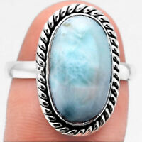 Larimar (Dominican Republic) 925 Sterling Silver Ring s.9 Jewelry 1652