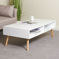 Hartleys Large White Rectangular Low Coffee Table Living Room Furniture Storage