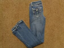 Zoo Jeans Woman Junior 3 Stretch Denim Low Rise Rhinestone Tattered Frayed Jeans