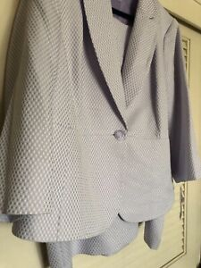 Women's Le Suit 2 Piece Suit and Skirt~22W~Lavender~White-Small Check