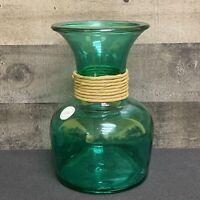 "SAN MIGUEL VIDRIOS 7 3/4""Aqua BULBOUS Recycled Art Glass Vase SPAIN"
