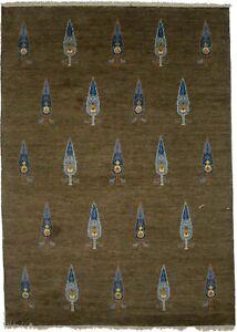 Modern Tribal Design Handmade 6X8 Plush Indo-Gabbeh Brown Oriental Rug Carpet
