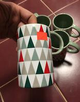 Starbucks Set of 4 Modern Tree Triangle Pattern Xmas Glazed Matte Coffee Mug Cup