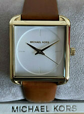 Michael Kors Ladies' MK2584 White Dial Brown Leather Strap Watch Genuine & BNIB