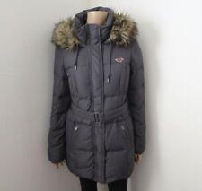 NWT Hollister Womens Puffer Parka Jacket Size Medium Fur Hood Waist Belt