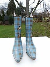 NOMAD YIPPY LADIES BLUE PLAID WATERPROOF RAIN WESTERN INSPIRED BOOTS SIZE 7 M