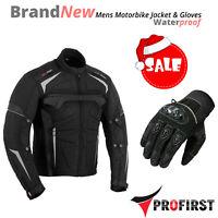Mens Motorcycle Motorbike Jacket Gloves Waterproof CE Armoured Summer Glove New