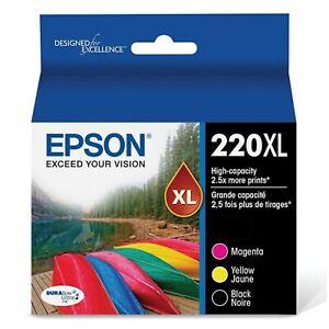 12/2022 3-Pak Genuine OEM Epson 220XL Ink Black Magenta Yellow T220XL-XCS NIOB-C