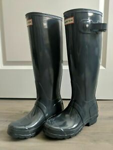 Hunter Original Tall Gloss Dark Slate Waterproof Rain Boots Size 11 US NEW $150