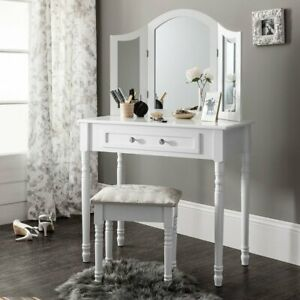 Women White Dressing Table Mirror Drawers Makeup Cabinet Storage Desk Stool Set
