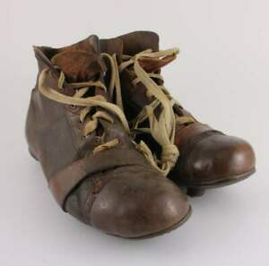 Brown Leather Football Boots. Old Nailed Studs Soccer Shoes Cleats c1930.