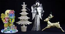 Lot of 3 Ornaments and 1 Figurine for Christmas Angel, Tree, Deer & Bear