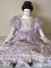 "Handmade Vintage Painted Porcelain Doll w/ Cloth Body, Old Lace Dress - 23"" Tall"