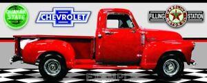 """1949 Chevrolet 3100 Red Truck 2'X5"""" Car Garage Banner."""