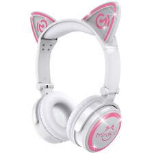 LED Wireless Cat Ear Headset Bluetooth Foldable Mic Headphones Headband for iPad White