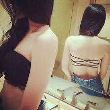 Women Padded Crop Tank Tops Summer Lace Bralette Vest Top No-Strap Wrap Chest