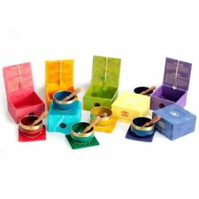 7 CHAKRA SINGING BOWLS SET BOXED GIFT NEW AGE BUDDHIST MEDITATION SOUND HEALING
