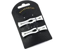 Silver Open Fancy Rectangle Clip In End Barrette Hair Clip Slide