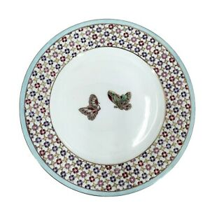 Oriental Accent Decorative Plate Blue Green Butterflies 10.5 Inch Collectible