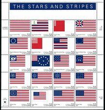 AT FACE! #3403 HISTORIC AMERICAN FLAGS. MINT SHEET. F-VF NH. BCV $29.50