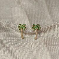 Classy 1.8ct Emerald & Diamond Palm Tree Stud Earring With 14k Yellow Gold Over