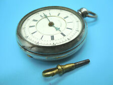 """Key-Wind Pocket Watch Needs Repair Antique """"Patent Chronograph"""" Large Silver"""