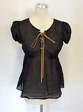 DOLCE & GABBANA BLACK LACE UP FRONT SMOCK TOP SIZE XS