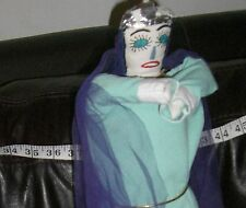 Folk Art Mexico doll  hand made  cloth Vintage  QUEEN #2 SEAFOAM