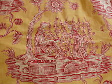 SCALAMANDRE WINEGROWER TOILE  DRAPERY 2 PANELS YELLOW RED SUNNY MSRP$2800+