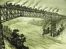 NEW CANTALEVER BRIDGE TRAINS LOCOMOTIVES 1883 Art Matted