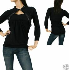 Black Cropped 3/4 Sequin Sweater/Cardigan/Shrug Top S